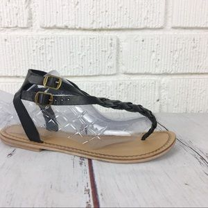 3/$30 UO ECOTÈ Black braided leather sandals 7